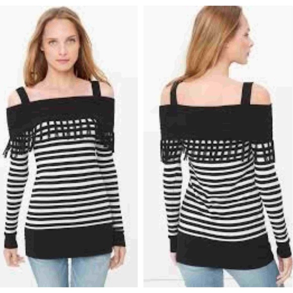 44d08e151fb8c WHBM Cold Shoulder Stripe Fringe Tunic Sweater. M 5c66441ac61777cb85cde430.  Other Tops you may like. White House Black Market Tunic